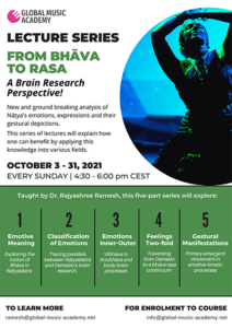 Lecture SeriesFrom Bhava to Rasa: Emotions in Natyasastra in relation to Brain research 3rd-31st October, 2021With Rajyashree Ramesh